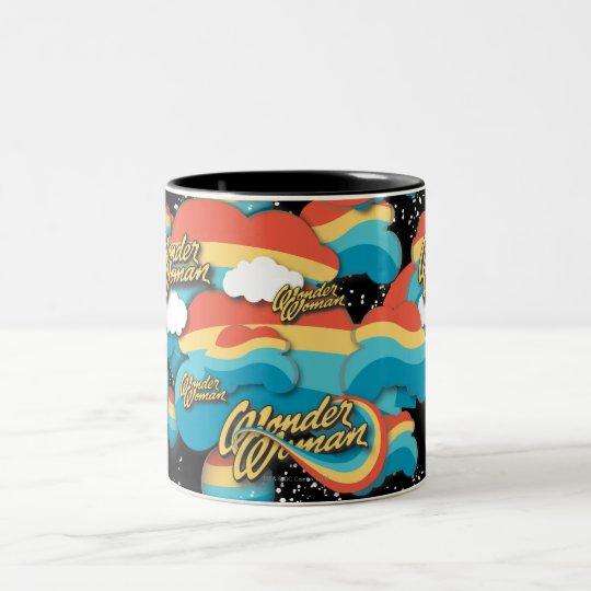 Wonder Woman Rainbow Clouds Pattern Two-Tone Coffee Mug