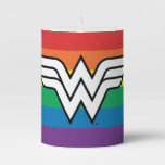 Wonder Woman Rainbow Logo Pillar Candle