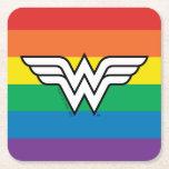 Wonder Woman Rainbow Logo Square Paper Coaster