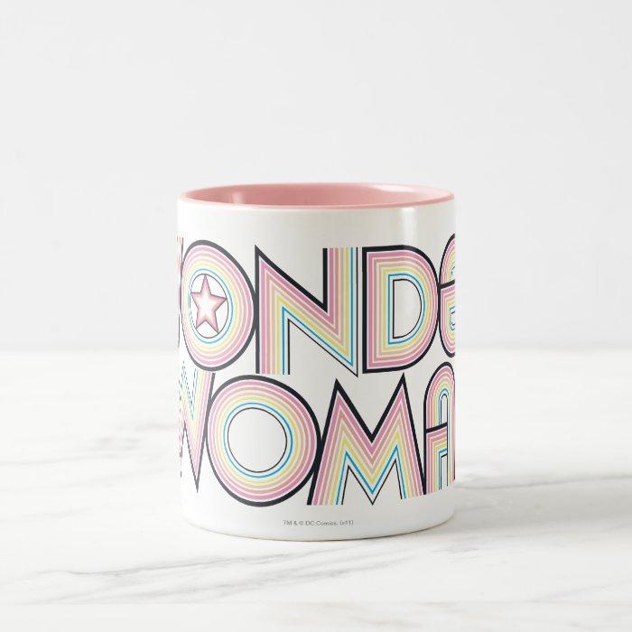 Wonder Woman Rainbow Logo Two-Tone Coffee Mug