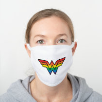 Wonder Woman Rainbow Logo White Cotton Face Mask
