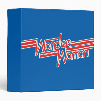 Wonder Woman Red and Blue Stripe Logo 3 Ring Binder