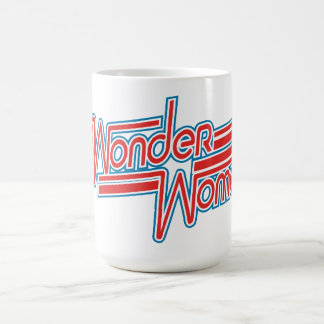 Wonder Woman Red and Blue Stripe Logo Coffee Mug