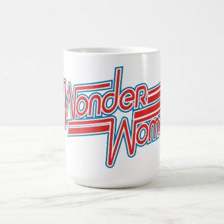 Wonder Woman Red and Blue Stripe Logo Coffee Mug