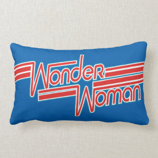 Wonder Woman Red and Blue Stripe Logo Lumbar Pillow