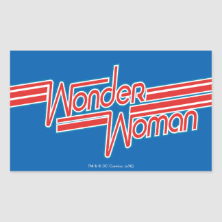 Wonder Woman Red and Blue Stripe Logo Rectangular Sticker
