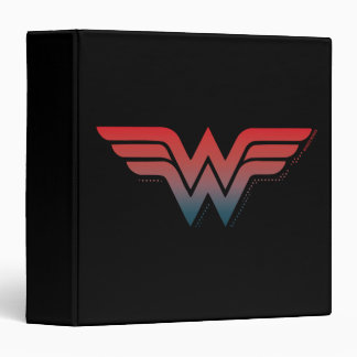 Wonder Woman Red Blue Gradient Logo 3 Ring Binder