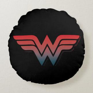 Wonder Woman Red Blue Gradient Logo Round Pillow