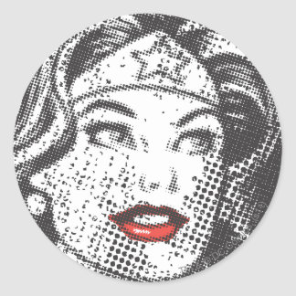 Wonder Woman Red Lips Classic Round Sticker