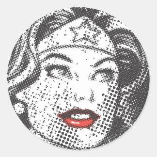 Wonder Woman Red Lips Classic Round Sticker