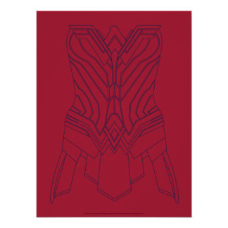Wonder Woman Red & Navy Armor Outline Poster