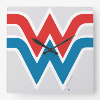 Wonder Woman Red White and Blue Logo Square Wall Clock