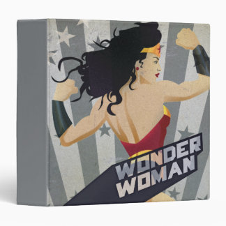 Wonder Woman Retro City Sunburst and Stars 3 Ring Binder