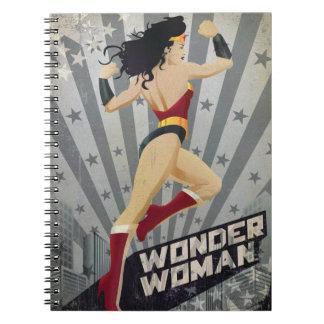 Wonder Woman Retro City Sunburst and Stars Spiral Notebook