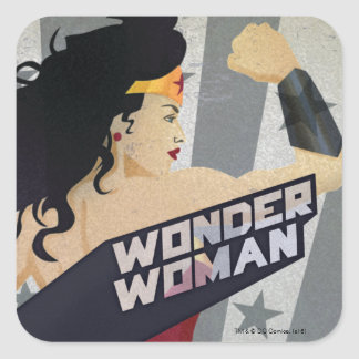Wonder Woman Retro City Sunburst and Stars Square Sticker