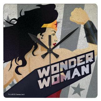 Wonder Woman Retro City Sunburst and Stars Square Wall Clock