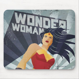 Wonder Woman Retro City Sunburst Mouse Pad