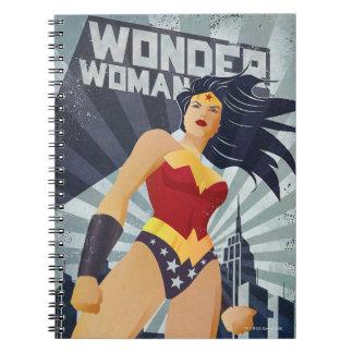 Wonder Woman Retro City Sunburst Notebook