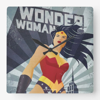 Wonder Woman Retro City Sunburst Square Wall Clock