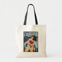 wonder woman, super hero, retro, sunburst, city, vintage, fists, pose, muscles, power, propaganda, Bag with custom graphic design