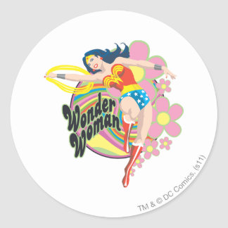 Wonder Woman Retro Flowers Classic Round Sticker