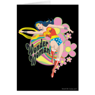 Wonder Woman Retro Flowers Greeting Card