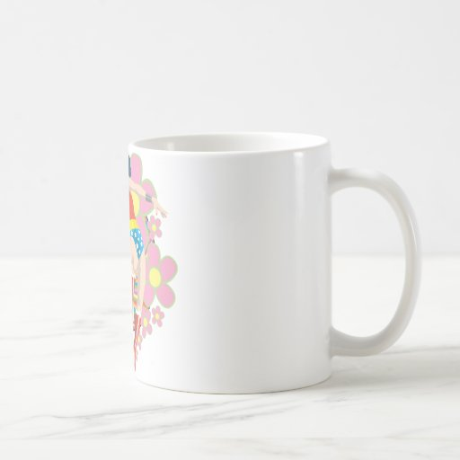 Wonder Woman Retro Flowers Coffee Mug