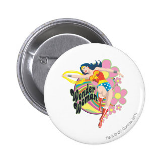 Wonder Woman Retro Flowers Pinback Button