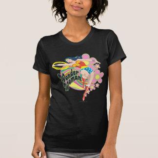 Wonder Woman Retro Flowers T Shirt