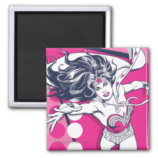 Wonder Woman Retro Glam Character Art 2 Inch Square Magnet