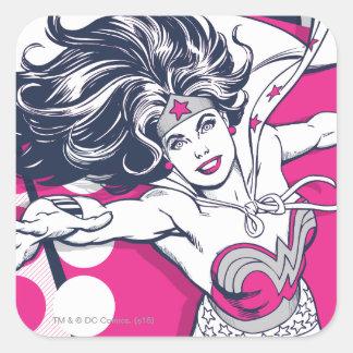 Wonder Woman Retro Glam Character Art Square Sticker