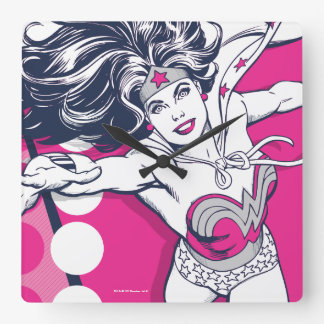 Wonder Woman Retro Glam Character Art Square Wall Clock