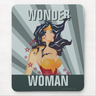Wonder Woman Retro Profile Sunburst Mouse Pad