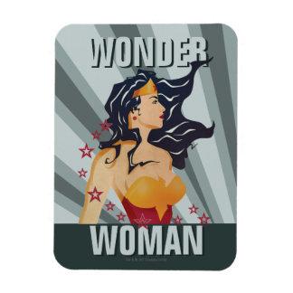 Wonder Woman Retro Profile Sunburst Rectangular Photo Magnet