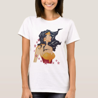 Wonder Woman Retro Profile Sunburst T-Shirt