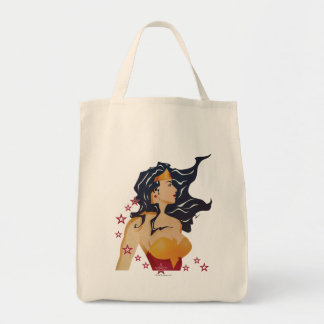 Wonder Woman Retro Profile Sunburst Tote Bag