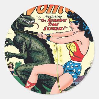 Wonder Woman Runaway Time Express Classic Round Sticker