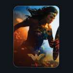 "Wonder Woman Running on Battlefield Magnet<br><div class=""desc"">Check out this iconic Wonder Woman movie poster art of Wonder Woman running through the battlefields,  sparks of ricocheted bullets and explosions seen all around.</div>"