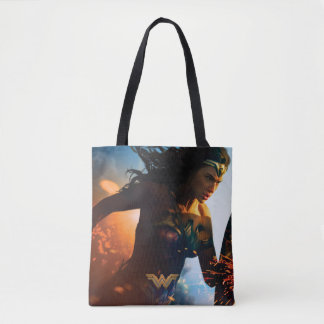 Wonder Woman Running on Battlefield Tote Bag