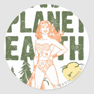 Wonder Woman Save Planet Earth Classic Round Sticker