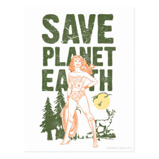 Wonder Woman Save Planet Earth Postcard