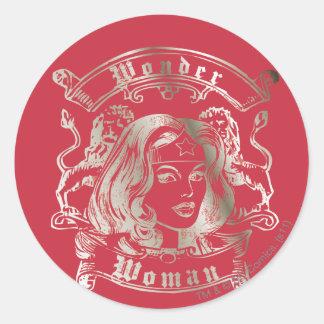 Wonder Woman Silver Classic Round Sticker