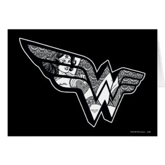 Wonder Woman Sitting In Angled Lace Logo Card