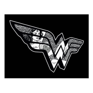 Wonder Woman Sitting In Angled Lace Logo Postcard
