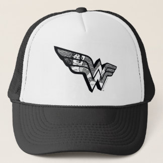 Wonder Woman Sitting In Angled Lace Logo Trucker Hat