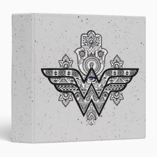 Wonder Woman Spiritual Paisley Hamsa Logo 3 Ring Binder