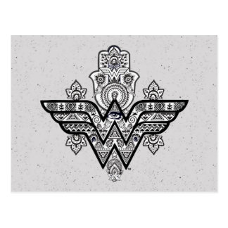Wonder Woman Spiritual Paisley Hamsa Logo Postcard