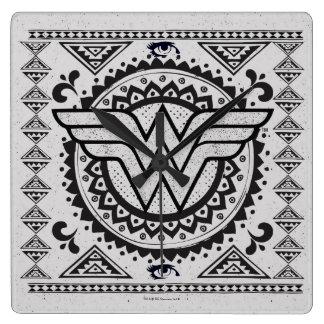 Wonder Woman Spiritual Tribal Design Square Wall Clock