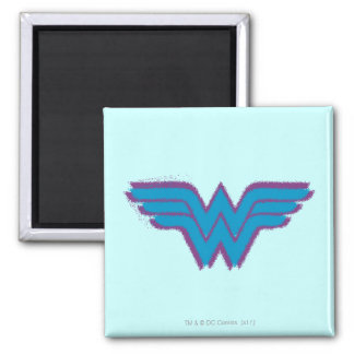 Wonder Woman Spray Paint Logo 2 Inch Square Magnet