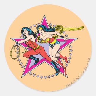 Wonder Woman Star Background Classic Round Sticker